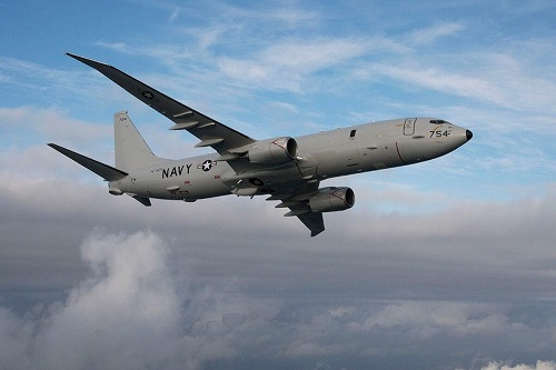 A US Navy P-8 Poseidon surveillance plane. Image source: Defense News/US Navy